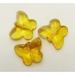 Lihvitud liblikas kollane 15x12mm, 1 tk