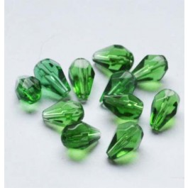 Roheline pressitud klaasist tilk 11x7mm, 1 tk