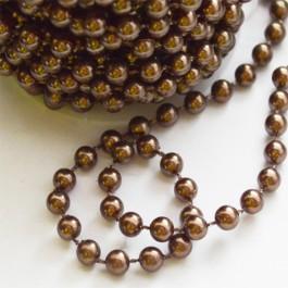 Akrüülist kett 5mm hallikaspruun pärliläikeline, 1 m