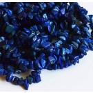 Lasuriidi (Lapis Lazuli) chipsid 4-10mm looduslik, värvitud tumesinine, nööril u 42 cm - 1 tk