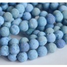 Ahhaat 8mm looduslik ümar matistatud  sinine, 1 tk