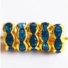 Kivikestega messingist vahehelmes 8x3,8mm sinine-kuldne, 1 tk