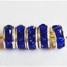 Kivikestega messingist vahehelmes 7x3,2mm sinine-hõbedane, 1 tk
