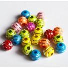Akrüülhelmes ümar 7mm ava 2,4mm erinevad värvid hõbedased triibud, 30 tk
