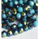 Lihvitud rondell 8x6mm, värviline metallik läige, sinine, 1 tk