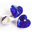 Lihvitud klaasripats Süda 14x14mm sinine-hõbe, 2 tk
