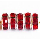 Kivikestega messingist vahehelmes 7x3,2mm punane-hõbedane, 1 tk