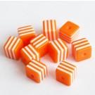 Kunstvaigust kandiline helmes 8mm oranž-valge, ava 1,5mm, 10 tk