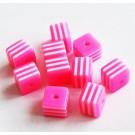 Kunstvaigust kandiline helmes 8mm roosa-valge, ava 1,5mm, 10 tk