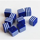 Kunstvaigust kandiline helmes 8mm sinine-valge, ava 1,5mm, 10 tk
