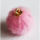 Tutt-ripats kuldse aasaga 16-17x13-14mm naaritsa imitatsioon, roosa, 2 tk