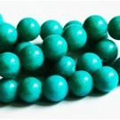 Jadeiit 10mm looduslik, värvitud tumedam türkiissinine, ava 1 mm, 10 tk
