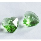 Lihvitud klaasripats Süda 10x10mm, heleroheline, ava 1mm,  2 tk