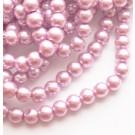 Klaaspärl 6mm roosa, ava 1mm, 10 tk