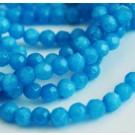 Jadeiit 4mm ümar looduslik lihvitud värvitud sinine, ava 1mm, pakis 10 tk.