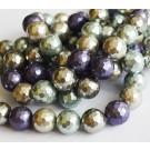 Teokarp pärl 11-12mm, lihvitud, lilla-hall, ava 1mm, mix, 10 tk