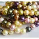 Teokarp pärl 11-12mm, beež-roosa-roheline-lilla, ava 1mm, mix, 10 tk
