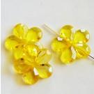 Akrüülhelmes Lill 20mm kollane läbipaistev, ava 1,5mm, 1 tk