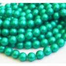 Teokarp pärl 8mm, matistatud, sinakasroheline, ava 1mm, 10 tk