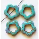 Türkiis, sünteetiline, Lill 19x20x4mm, värvitud, sinine, ava 1mm, 4 tk