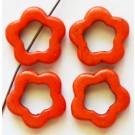 Türkiis, sünteetiline, Lill 19x20x4mm, värvitud, oranž, ava 1mm, 4 tk