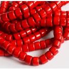 Jadeiit 8x6mm looduslik, värvitud, punane, ava 1mm, 1 tk