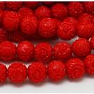 Korall helmed sünteetilised 8mm värvitud punased, ava 1 mm, 1 tk