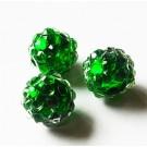 Kivikestega akrüülhelmes 12-11mm, ava 2-2,5mm roheline, pakis 1 tk