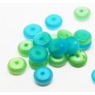 Kassisilm 8-8,5x3.5-3mm rondell klaashelmes sinine/roheline, ava 0.8mm, pakis 20 tk.
