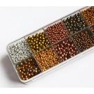 Preciosa seemnehelmed mix, 12 erinevat metallik kulla-hõbeda-ponksi-vase tooni,  suurused 9/0, 8/0, 7/0, 6/0, 1 karp (204 gr.)   Ei saa saata maksikirjadega