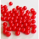Plastikpärl 6mm punane, ava 1mm, pakis 50 tk