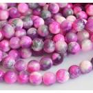 Jadeiit 10mm looduslik kivi, värvitud roosa-hall-valge, ava 1mm, pakis 10 tk.