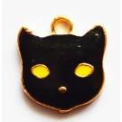 Kuldne metallripats Must Kass 12x11mm, 1 tk