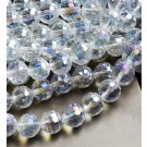 Klaashelmes 8mm lihvitud, läbipaistev, AB läige, ava 1mm, pakis 10 tk
