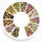 Klaaskristallid 2-3mm, koonusekujulised, liimitavad, 12 värvi, 1 karp
