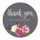 """Kleepsud 2,5cm  """"Thank You for your business"""", rullis u 500 tk hall/lilleline, paber, pakis 1 rull  Saatmine pakiautomaadi kaudu."""