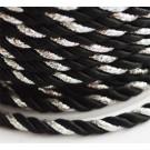 Punutud polüesternöör 4mm läikiv  must-hõbedane, 1 m