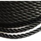 Punutud polüesternöör 4mm läikiv  must, 1 m