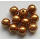 Kuldpruunid klaaspärlid 10mm, 10 tk