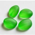 Akrüülhelmes 18x13x5mm, läbikumav matistatud, roheline,  4 tk