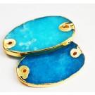 Jadeiit ühendaja 48-50x30-32x4-5mm, looduslik,värvitud, sinine-kuldne, 1 tk