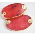 Jadeiit ühendaja 48-50x30-32x4-5mm, looduslik,värvitud, punane-kuldne, 1 tk