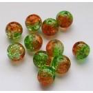 Mõraline klaashelmes  roheline-oranž  6mm, 10 tk