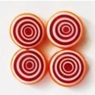Millefiori helmes 12x5mm, oranžikaspunane-valge,   4 tk