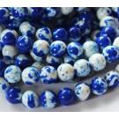 Jadeiit 10-11mm sünteetiline ümar värvitud, valge-sinine, 1 tk