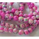 Jadeiit 8mm looduslik, värvitud, roosakirju, 1 tk