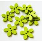 Puuhelmes-nööp 15x14mm roheline, 4 tk
