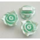 Akrüülhelmes-ühendaja 14x14x7mm, pärliläikeline, kaherealine, hele rohekassinine, 1 tk