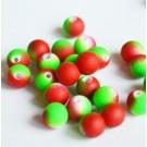 Akrüülhelmes 8mm matistatud neoon punane-roheline, 20 tk