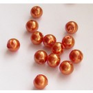 Punakas-oranž akrüülpärl 6mm, 10 tk